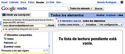 añadir suscripción -google-reader