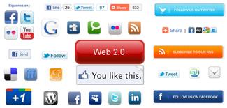 botones sociales twitter, facebook, google,
