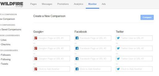 Wildfire, una gran herramienta gratis que compara páginas de Facebook y cuentas de Twitter y Google+