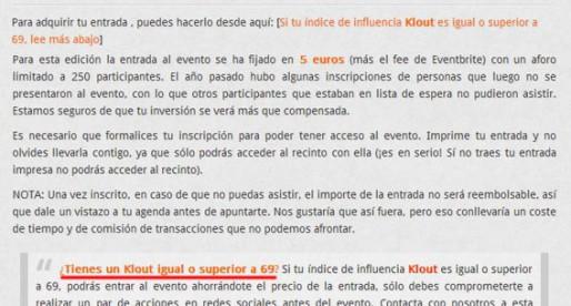 Si tienes un Klout de 69 entras gratis al Social Media Day de Madrid y Barcelona