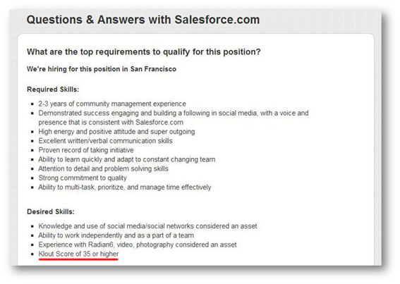 salesforce klout