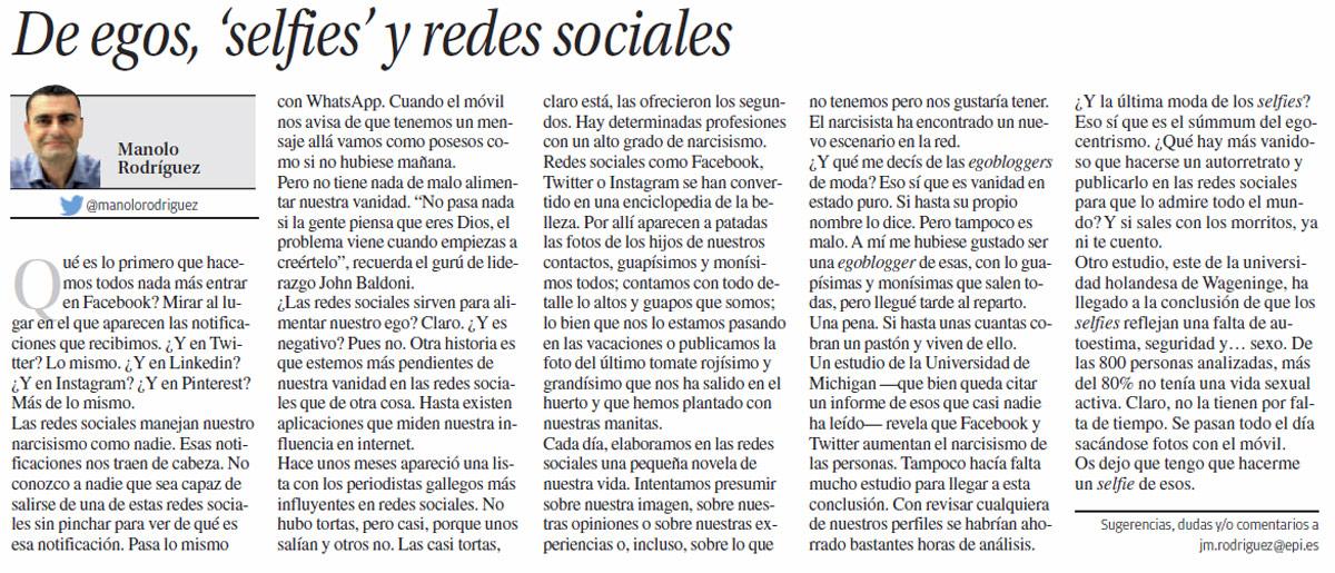 ego selfies redes sociales