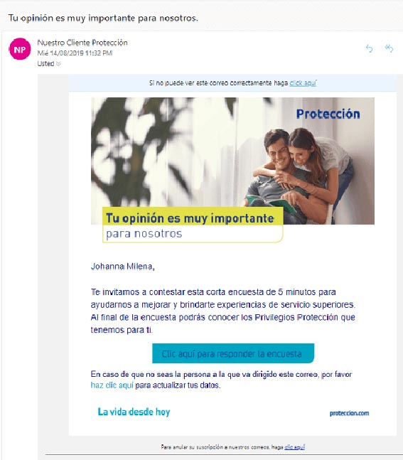 encuesta email mailling