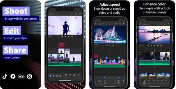 Adobe Premiere Rush editor de video para movil gratis sin marca de agua